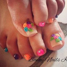 Pretty Toe Nails, Cute Toe Nails, Gorgeous Nails, Pedicure Nail Art, Pedicure Designs, Toe Nail Designs, Toe Nail Color, Toe Nail Art, Acrylic Nails
