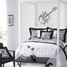 """""""Flourished Guitar"""" this guitar wall decal is sure part of our new collection! We are excited to provide more wall decals with a rockstar theme. See more decals at www.lacybella.com"""