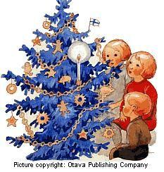 Rudolf Koivu (Finnish 1890-1946) - Vintage Christmas Card Swedish Christmas, Christmas Past, Blue Christmas, Scandinavian Christmas, Beautiful Christmas, Vintage Christmas Images, Christmas Pictures, Christian Christmas, Winter Trees