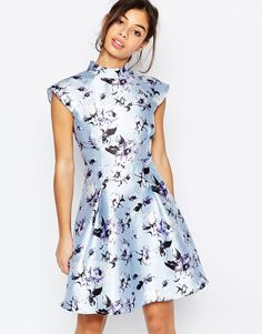 Image 2 ofChi Chi London Petite High Neck Open Back Floral Prom Dress