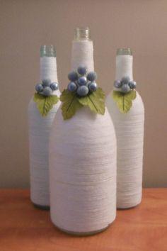 Items similar to White Wine Bottles, Upcycled Wine Bottles, White Centerpiece on Etsy Wrapped Wine Bottles, Empty Wine Bottles, Painted Wine Bottles, Bottles And Jars, Liquor Bottle Crafts, Wine Bottle Art, Diy Bottle, Beer Bottle, Yarn Bottles