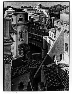 """M. C. Escher- """"Between St Peter's and the Sistine Chapel""""- March 1936, Lithograph."""