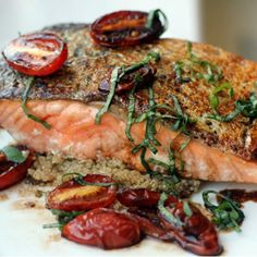 Pan-seared Salmon and Crispy Tomatoes over Quinoa