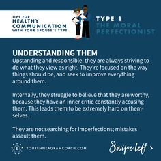 If you're the significant other of a Type I hope these tips will help you gain greater insight, empathy, and grace for your partner. Enneagram Type One, Fibromyalgia Pain Relief, Ptsd Symptoms, Infj Personality, Look Here, Thing 1, E Type, Psychology Facts, Significant Other