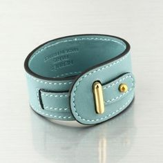 Fashion Hermes Inlay Goldtone Calfskin Leather Elise Bracelet In Light Blue