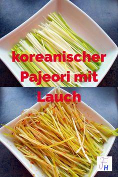 Dieser koreanische Salat wird eigentlich mit Frühlingszwiebeln gemacht. Da mir diese etwas zu scharf sind, finde ich die Variante mit Lauch besser. Bulgogi, Japchae, Celery, Vegetables, Ethnic Recipes, Food, Korean Cuisine, Korean Food Recipes, Eating Habits