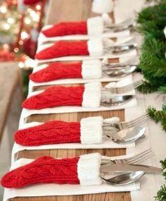 mini stocking table settings - perfect Christmas decoration for Christmas dinner