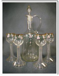 Jugendstil Karaffe und 4 Weingläser um 1900