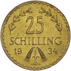 1. Republik-Bundesstaat 1918 - 1938 25 Schilling 1934 Gold