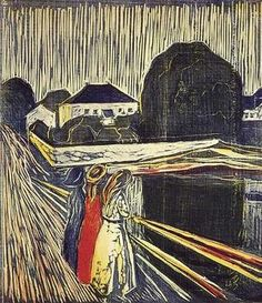 """Edvard Munch - woodcut.  The same image as his painting """"The Girls on the Bridge"""" but in reverse."""