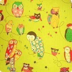 Alexander Henry's Spotted Owl in Green Tea by Edensgardenoffabric, $8.50