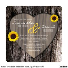 Rustic Tree Bark Heart and Sunflower Wedding