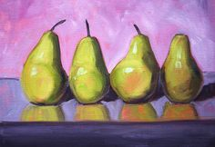 Pear Line Still Life Painting by Nancy Merkle; Original and Fine Art Reproductions