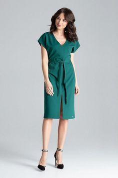 b8c3e7789d4c Μίντι φόρεμα σε ίσια γραμμή - Πράσινο. Fashion e-Shop