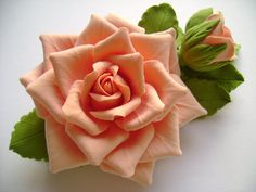 Hair clip polymer clay flower Coral rose with by FloraAkkerman, $25.00
