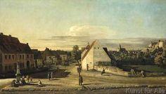 Bernardo Bellotto - Die Breitegasse in Pirna mit Postmeilensäule