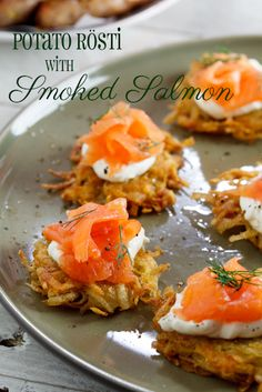 Rösti with Smoked Salmon with cream cheese. Lots of other droolicious things on this blog.