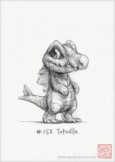 Totodile 5 x 7 print pokemon drawing water art by RockyHammerEtsy