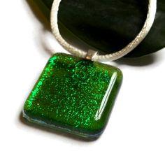 Fused #Dichroic #Glass #Necklace, Sparkling #Green Square, Jewelry   ResetarGlassArt - #Jewelry on ArtFire #StPatricksDay