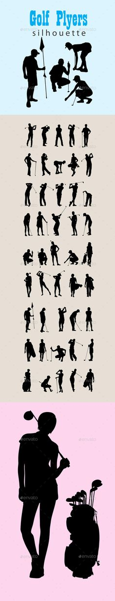 Golf Silhouettes Vector EPS, AI Illustrator