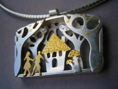 Lucy Palmer -Hansel & Gretel- A multi-layered pendant in silver and 24ct gold foil
