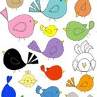 "You'll love the whimsy of these chubby-tummy birds, right down to their ""stitched"" wings and tails!  Perfect for posters, newsletters, stationary, ..."