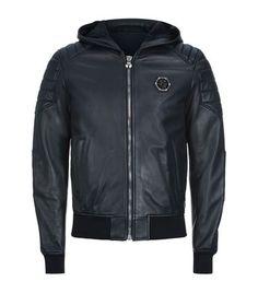 PHILIPP PLEIN Hooded Leather Bomber Jacket. #philippplein #cloth #