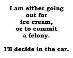 im either going out to get ice cream or commit a felony meme Sarcastic Quotes, Me Quotes, Funny Quotes, Funny Memes, Hilarious, It's Funny, Scared Quotes, Funny Food, Food Humor