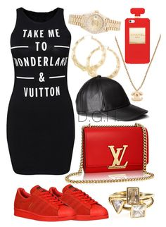 """""""Take me to Wonderland & Vuitton."""" by dopegenhope ❤ liked on Polyvore featuring adidas Originals, Rolex and H&M"""