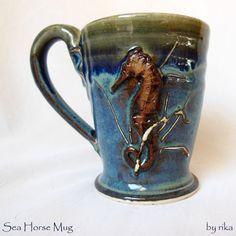 Sea Horse Blue mug Pottery Wheel thrown by rikablue on Etsy, $22.00