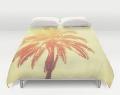 Duvet Cover, Yellow Ombre Beach Surf Decor Bedding Cover, Tropical Coconut Palm Tree, Boho Hippie Chic Loft Home Decor, Full Queen King Size