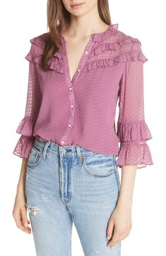 Rebecca Taylor Y Seda Mezcla Dot Blusa Cute Blouses, Blouses For Women, Blouse Styles, Blouse Designs, Rebecca Taylor, Sleeves Designs For Dresses, Stylish Tops, Mode Hijab, Nordstrom