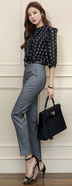 Awesome Office Work Outfits Ideas For Women In 2019 25 Casual Asian Fashion, Work Fashion, Korean Fashion, Fashion Outfits, Women's Fashion, Slacks For Women, Clothes For Women, Classy Outfits, Cool Outfits