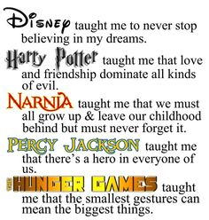 Life Lessons Disney, Harry Potter, Narnia, PERCY JACKSON and the Hunger Games...