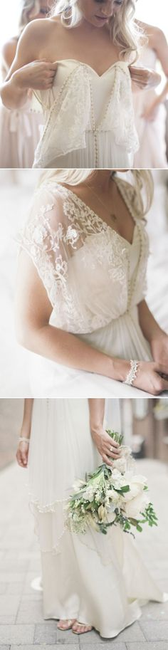 2017 elegant white boho wedding dresses - love the flowers! #laceweddingdresses
