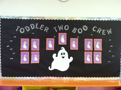 Halloween Ghost Bulletin Board Toddler Bulletin Boards, Halloween Bulletin Boards, Birthday Bulletin Boards, Classroom Bulletin Boards, Classroom Themes, Classroom Activities, Classroom Door, Preschool Art Projects, Creative Activities For Kids