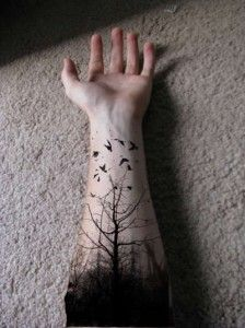 Tree with black birds tattoo on the Arm