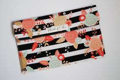 Diaper Clutch  Black & White Stripes with Coral by PearlAndCoShop