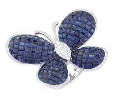 Sapphire & Diamond Butterfly Ring