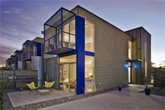 Indigo Modern: 11 Modern Unit Town Loft with Energy Efficient Design Industrial Architecture, Modern Architecture, Hidden House, Wood Siding, Cement Siding, Ice Houses, Contemporary Style Homes, House Siding, Modern Exterior