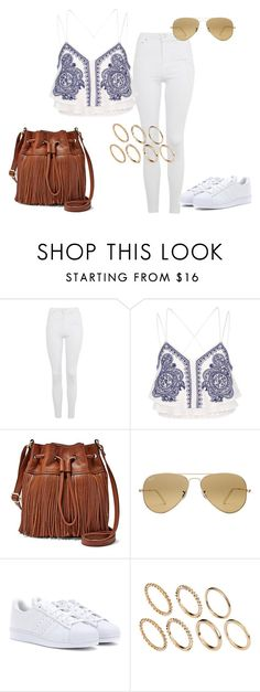 """Untitled #377"" by charlotte-down on Polyvore featuring Topshop, River Island, FOSSIL, Ray-Ban, adidas and Pieces"