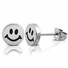 8mm  Stainless Steel 2tone Happy Smiling Smiley Emoticon Circle Stud Earrings pair  PEE023 *** See this great product. Note:It is Affiliate Link to Amazon.