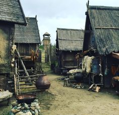 the path split equally among the cabins in the distant village. Medieval Village, Medieval Houses, Medieval Life, Medieval Fantasy, Casa Viking, Viking House, Fantasy Places, Fantasy World, Viking Aesthetic