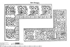 "Indian Saree / Sari Corner Border Embroidery Pattern - From ""Design for Needle Work"" by Zahoor-ul-Haq, circa 1930"