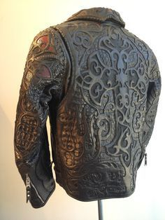 A custom Leather jacket by Logan Riese Took over an hour to make. Logan Riese Leather jacket with skulls and cross Leather Art, Leather Tooling, Black Leather, Custom Leather Jackets, La Mode Masculine, Herren Outfit, Cool Jackets, Brown Jacket, Blazers
