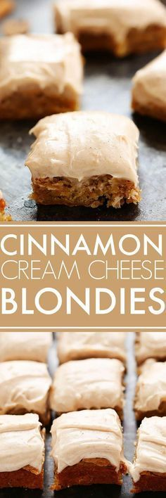 Blondies with Cinnamon Cream Cheese Frosting taste like a cross between carrot cake and blondies – They're simply delicious! Blondies with Cinnamon Cream Cheese Frosting taste like a cross between carrot cake and blondies – They're simply delicious! 13 Desserts, Brownie Desserts, Brownie Recipes, Delicious Desserts, Yummy Treats, Sweet Treats, Dessert Recipes, Yummy Food, Bar Recipes