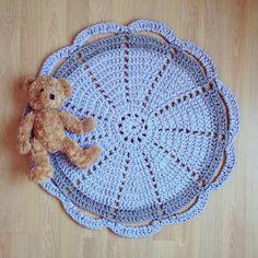 Grey Crochet Doily Rug by sevenPMstitches on Etsy