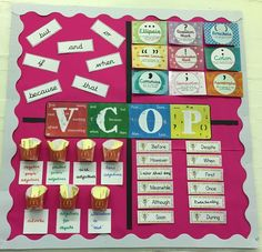 This is a wonderful VCOP display to help with vocabulary, conjunctions, openers and punctuation. Primary Classroom Displays, Year 6 Classroom, Classroom Display Boards, Ks2 Classroom, Teaching Displays, Class Displays, School Displays, Classroom Organisation, Working Wall Display