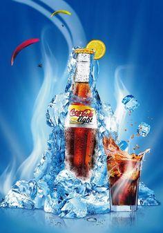 Coca-Cola Light Lemon by Dawid Cmok, via Behance Coca Cola Poster, Beer Poster, Creative Advertising, Advertising Design, Coca Cola Light, Poster Background Design, 19th Birthday, Rainbow Art, Fruit Art