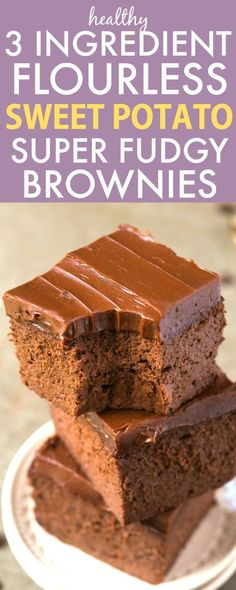 Healthy 3 ingredient flourless sweet potato brownies- so easy, simple and fudgy- no Paleo Dessert, Gluten Free Desserts, Healthy Desserts, Dessert Recipes, Healthy Pizza, Healthy Soup, Healthy Recipes, Sweet Potato Dessert, Sweet Potato Brownies